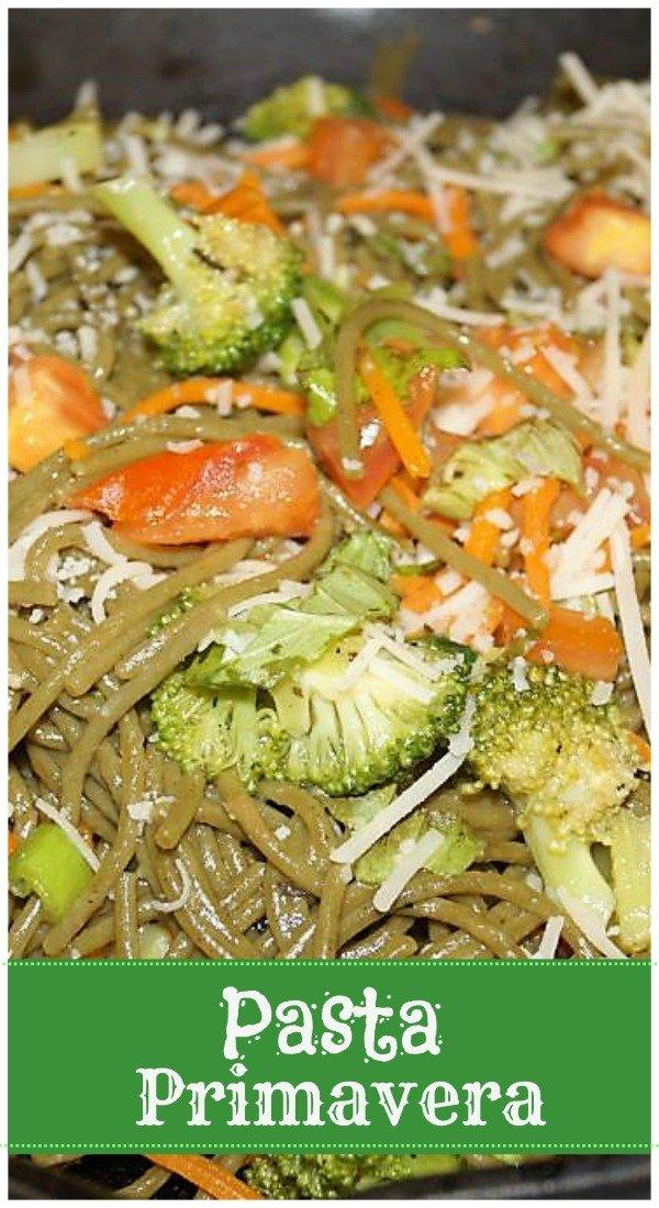 Vegan Pasta Primavera - Easy and tasty vegan pasta primavera.  Add or remove whichever vegetables you like to this one! #pasta #vegan #vegandinner #pastaprimavera #healthypasta #plantbased