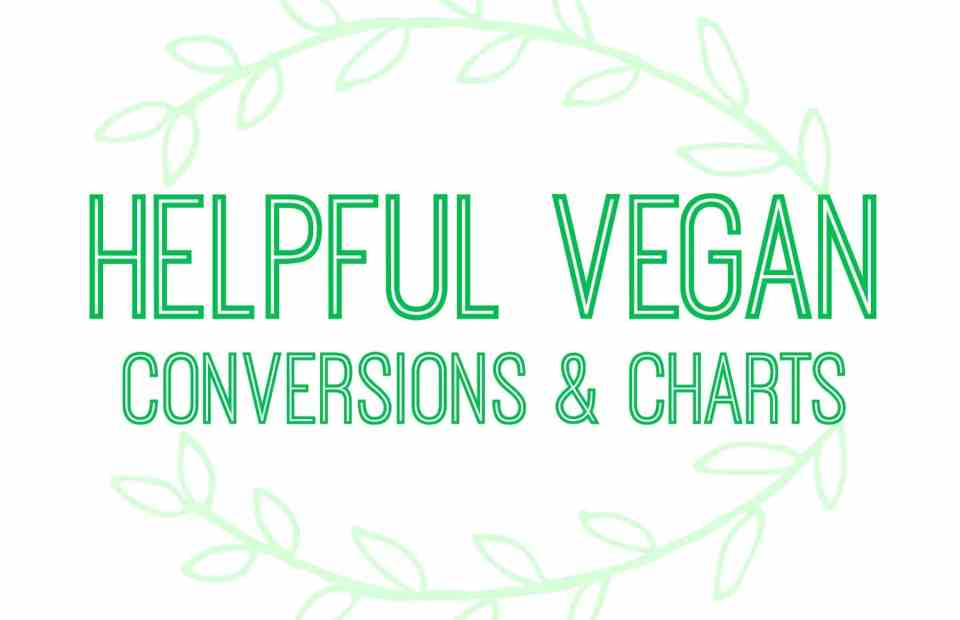 Helpful Vegan Replacements, Conversions & Charts