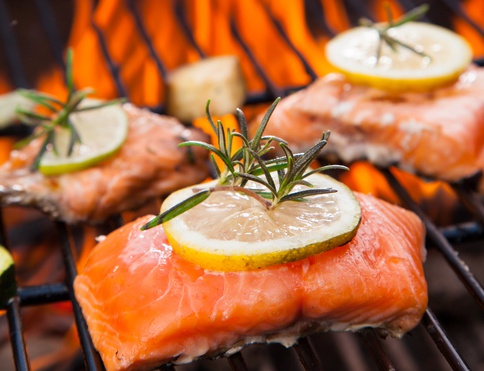grilled salmon on bbq