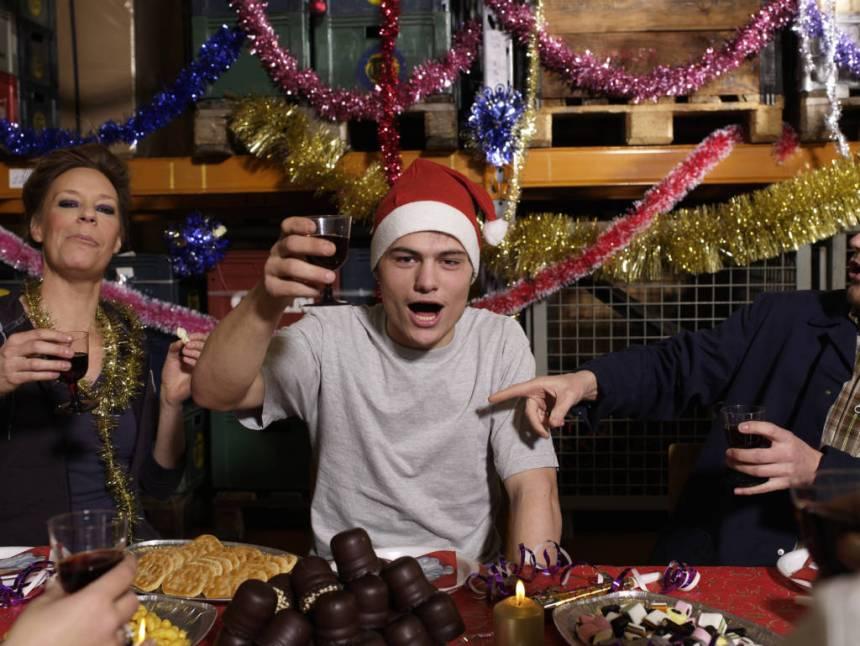 celebrating at holiday party