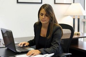 A woman working at her desk