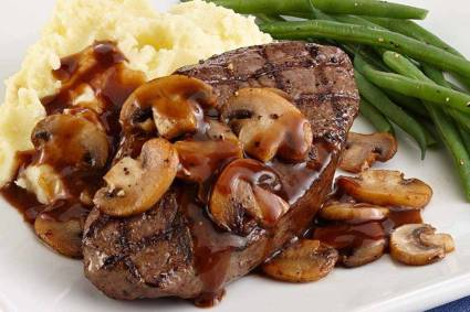 grilled sirloin with mushrooms