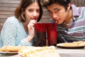 teens drinking soda