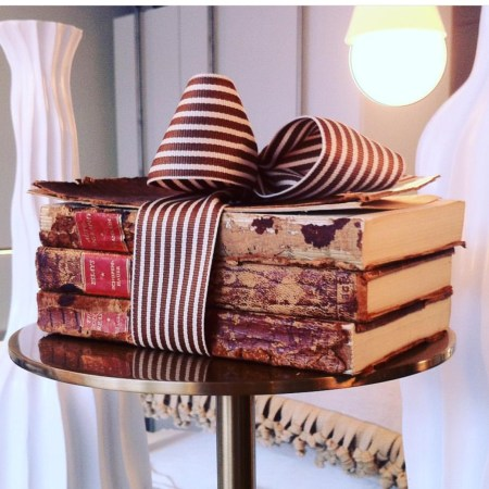 Striped Grosgrain with Antique Books