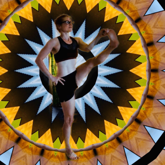 Utthita Hasta Padangusthasana - standing hand to big toe pose - yoga pose girl glasses wearing black trippy cool background
