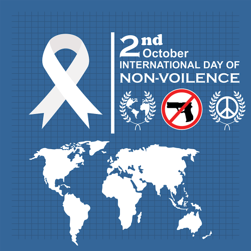 international day of non-violence october 10.01 blue and white world infographic