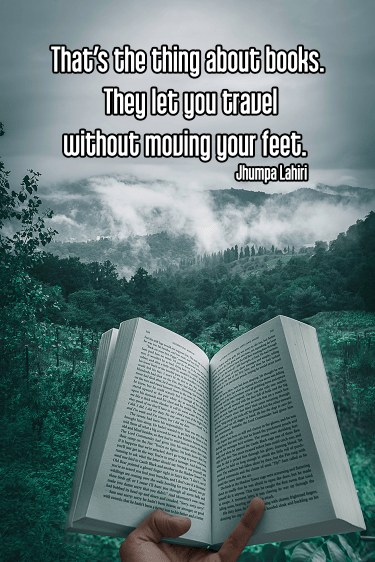 cool shot of open book open in front of misty mountain landscape - mindful mindfulness reading books Quote: That's the thing about books. They let you travel without moving your feet. - Jhumpa Lahiri   original work - https://unsplash.com/photos/RrhhzitYizg