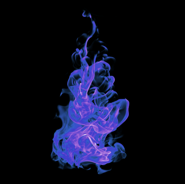 blue and purple flames on black background