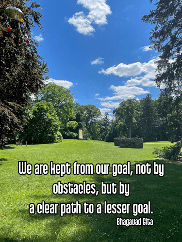 cool shot decordova sculpture garden outdoor artwork under bright blue partly cloudy sky - svadhyaya self-study learning goals Quote: We are kept from our goal, not by obstacles, but by a clear path to a lesser goal. - Bhagavad Gita