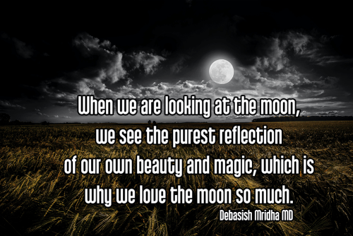 When we are looking at the moon, we see the purest reflection of our own beauty and magic, which is why we love the moon so much. - Debasish Mridha MD