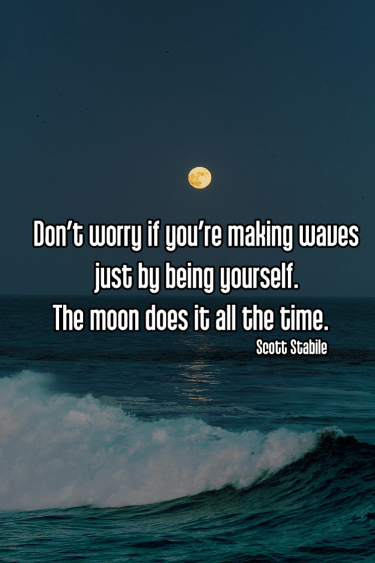 cool shot of bright moon clear sky over ocean waves - mindful mindfulness moon making waves Quote: Don't worry if you're making waves just by being yourself. The moon does it all the time. - Scott Stabile original work - https://unsplash.com/photos/LIM3_XTo_5w