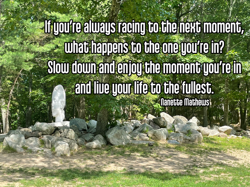 trippy white human face statue set in green new England forest with green grass and gray rocks - santosha contentment happiness satisfaction Quote: If you're always racing to the next moment, what happens to the one you're in? Slow down and enjoy the moment you're in and live your life to the fullest. - Nanette Mathews