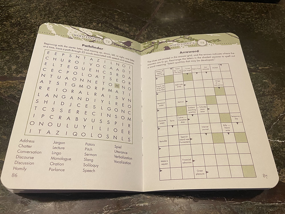 Book open to pages with green and white printed word puzzles