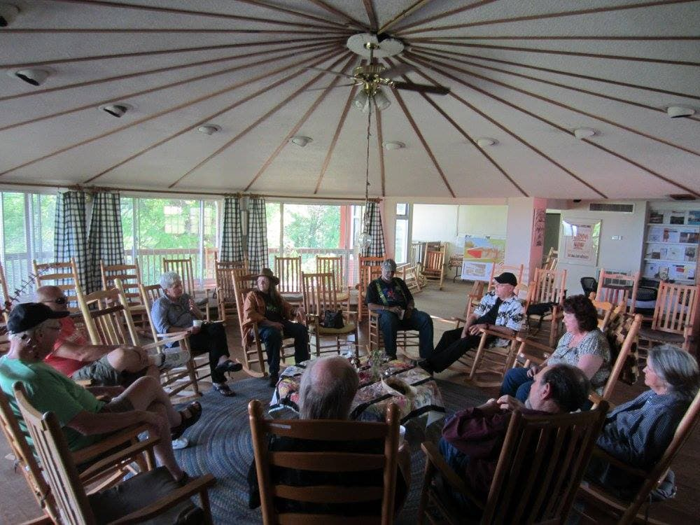 Musicians influenced by Carawan and the Highlander Research and Education Center in New Market, Tennessee, gathered last week to reminisce and talk about the future. Guy died just prior to the gathering after a lengthy illness. (Photo courtesy of Tommy Bledsoe)