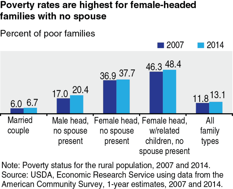 Poverty rates are highest for female-headed families with no spouse.