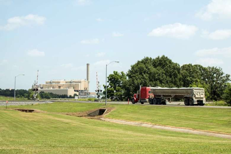 A tractor-trailer enters the main entrance of the AES Shady Point coal-fired generation plant near Panama, Oklahoma. Photo by Joe Wertz/StateImpact Oklahoma