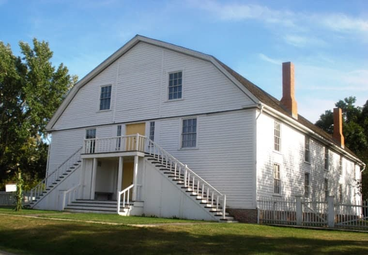 The wooden colony church was constructed in 1848 -- a period when several uotopian communities were established in the U.S. -- often far from the cities of the East Coast.