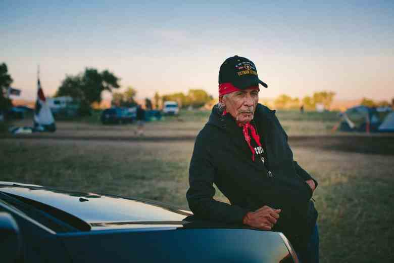 """Apesanahkwat spent 30 years as the Chairman of the Menominee Indian Tribe of Wisconsin. """"It wasn't something I chose when I came home from Vietnam,"""" he said, but it launched him into a career in Washington, D.C., which is near where he now lives. When he heard of the events in North Dakota, he felt compelled to drive to the Sacred Stone camp. """"All of these things that are happening are incredibly beautiful,"""" he said."""