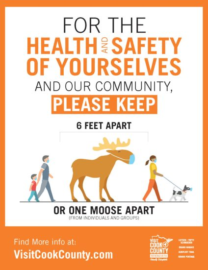 Image of public health poster from Visit Cook County tourism, encouraging people to stay One Moose Apart.