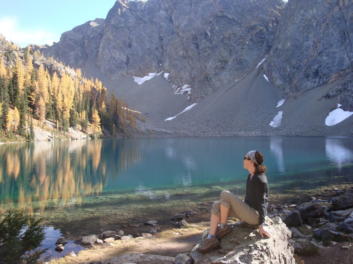 Picture of Jennifer Sherman by a lake.