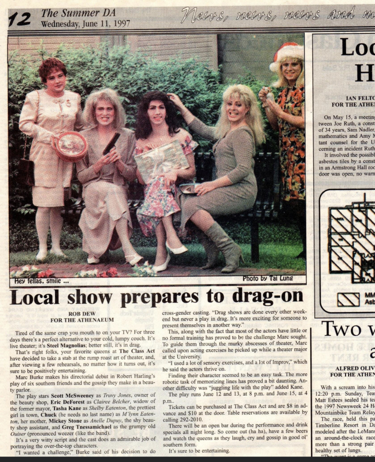A newspaper clipping with a photo of drag performers and an article about their show