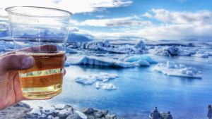 Wine with the view of Jokulsarlon Glacier Lagoon, Iceland