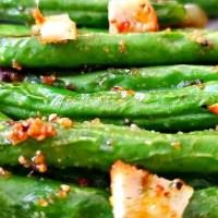 5 Minute Air Fryer Garlic Roasted Green Beans