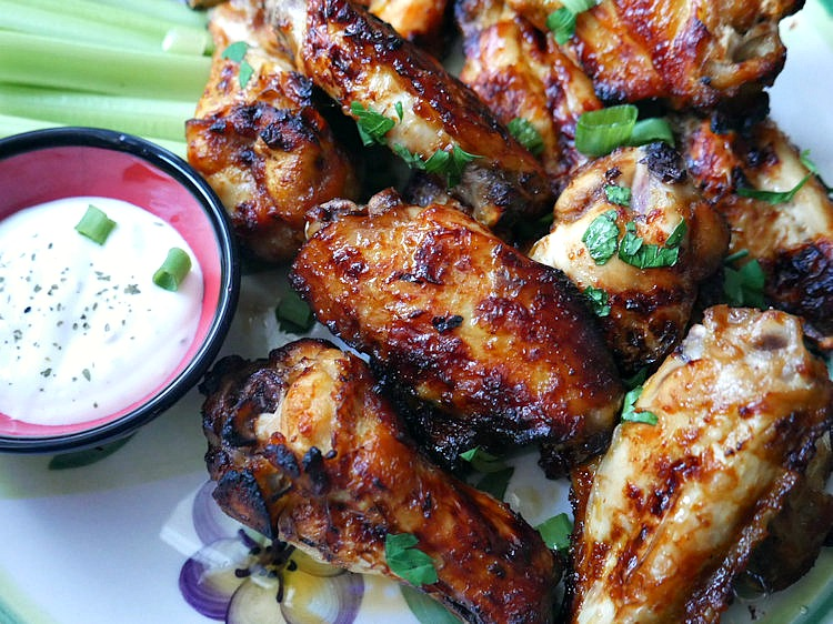 Sticky sweet and spicy Honey Buffalo Chicken Wings for Super Bowl