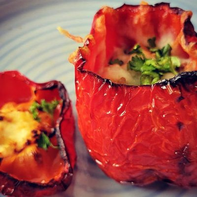 Air fryer stuffed roasted peppers