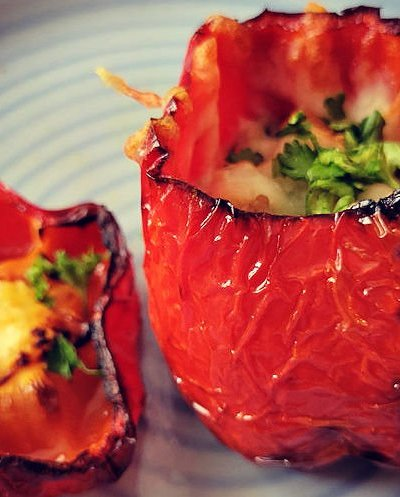 Air Fryer Roasted stuffed peppers