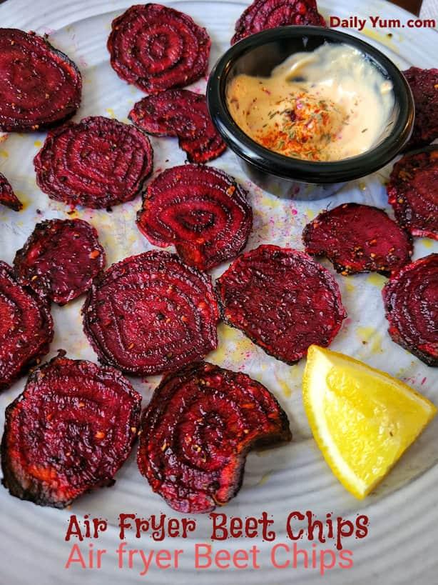 Air fryer Roasted crispy beet chips
