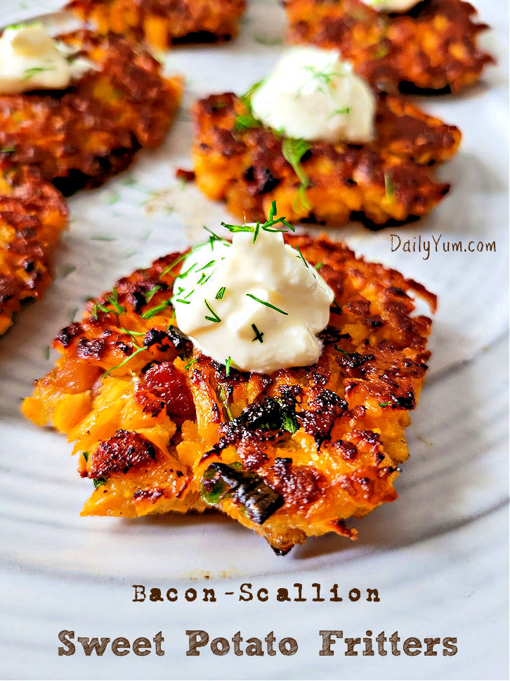 Bacon Scallion sweet potato fritters