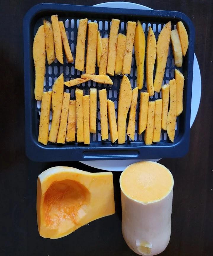 Cut butternut squash into a French fry shape