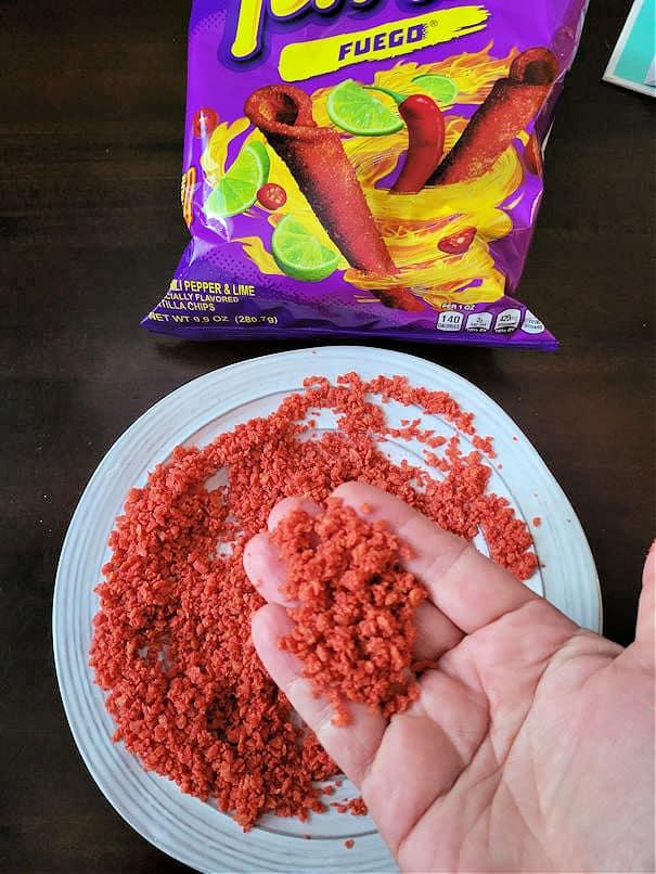 Crushed Takis crumbs