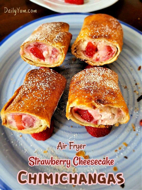 Air fryer crispy strawberry cheesecake chimichangas