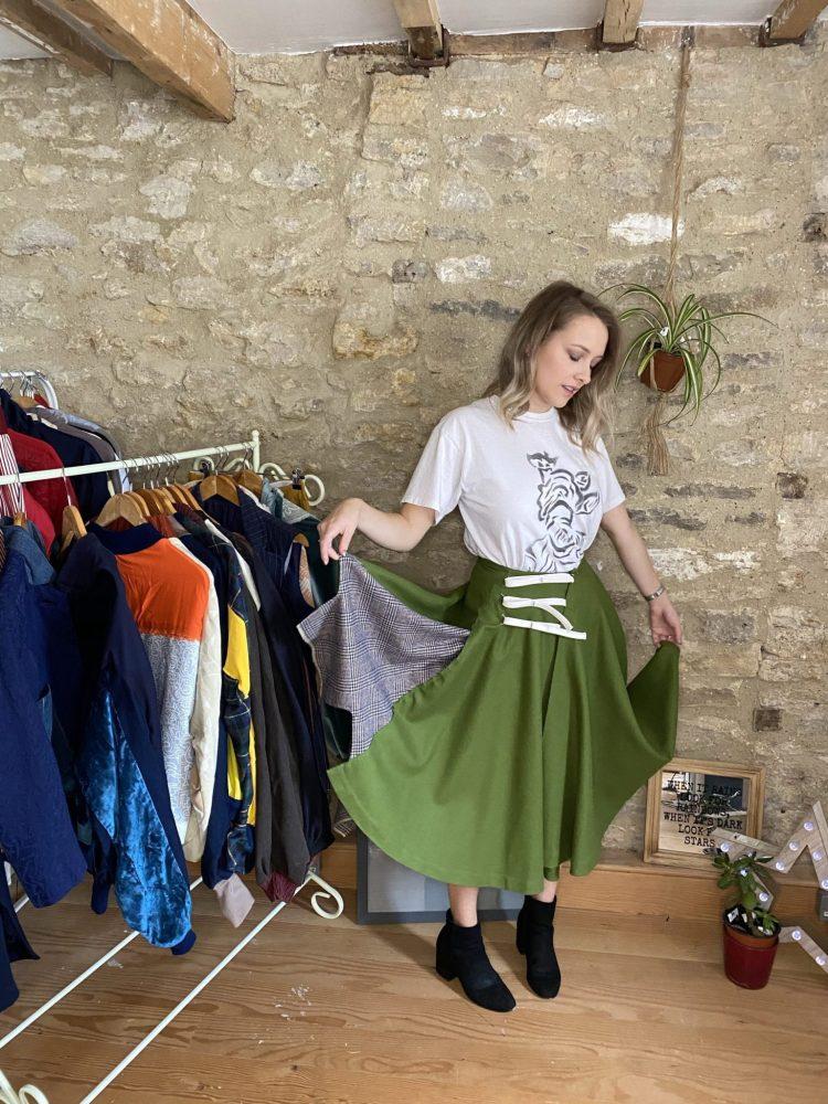 Circle Skirt Vintage Style Green Wool