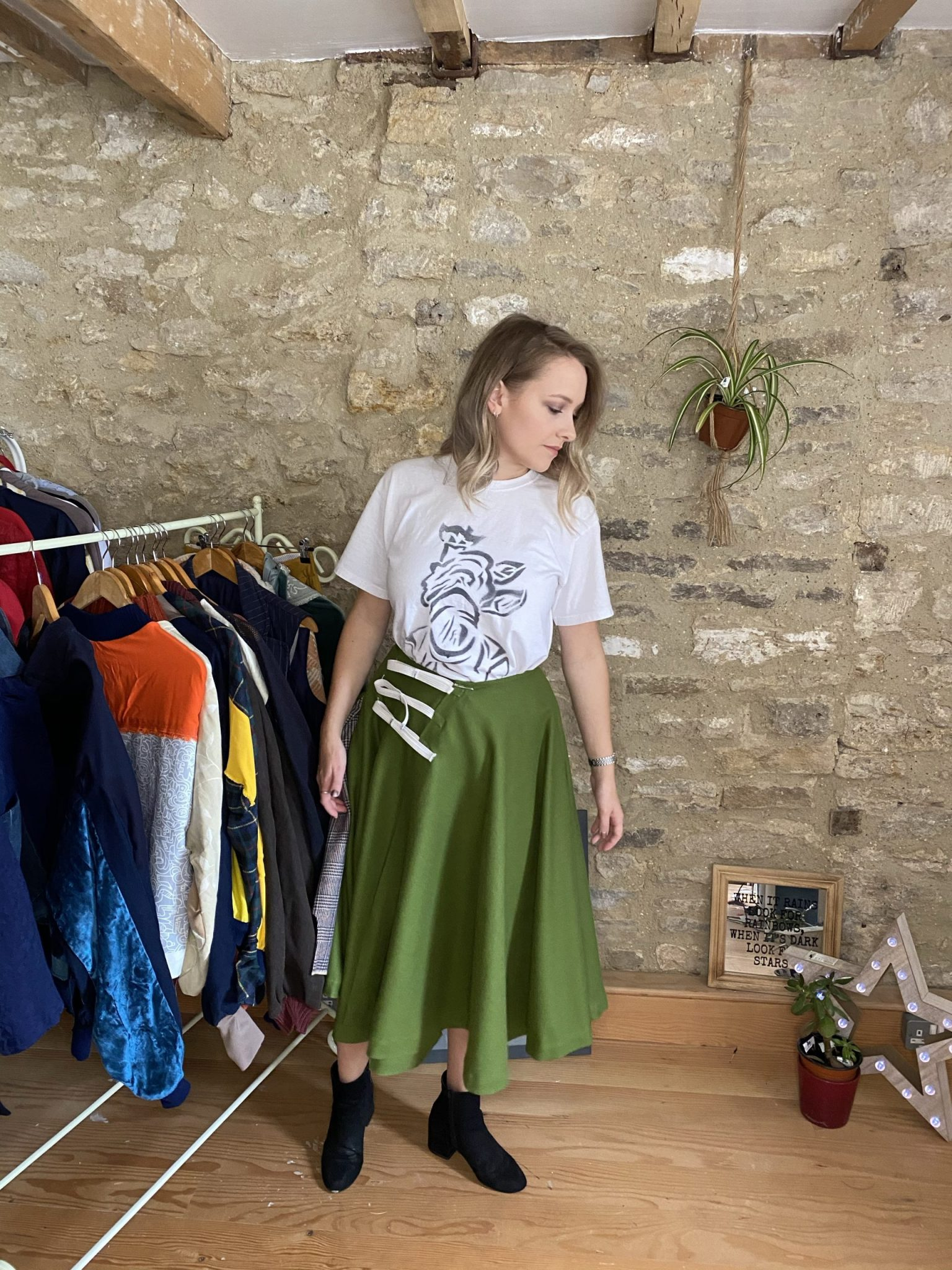 Circular Skirt front upcyled fashion deadstock materials