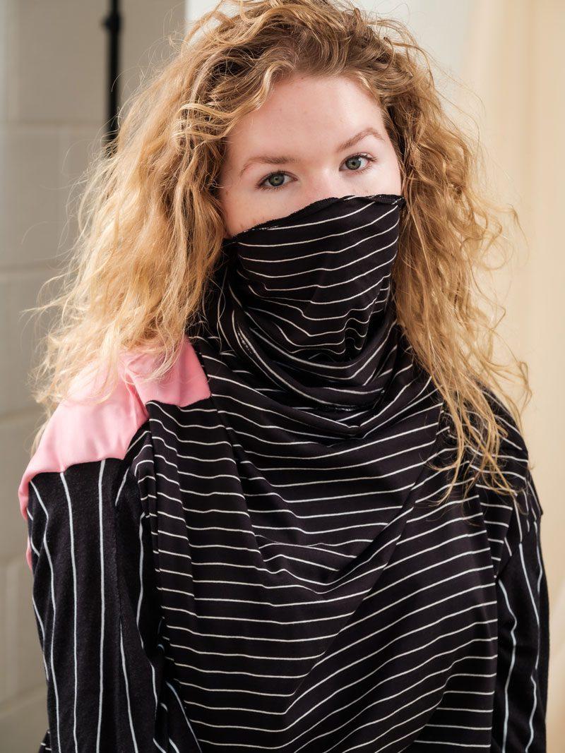 Black Stripe with pink panel, circular fashion