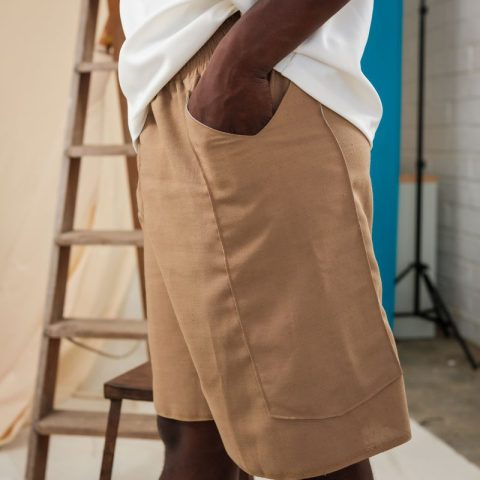 Unisex Beige Shorts brown boxing short fashion style
