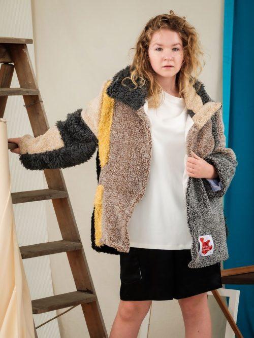 fluffy teddy coat sustainable fashion uk upcycled