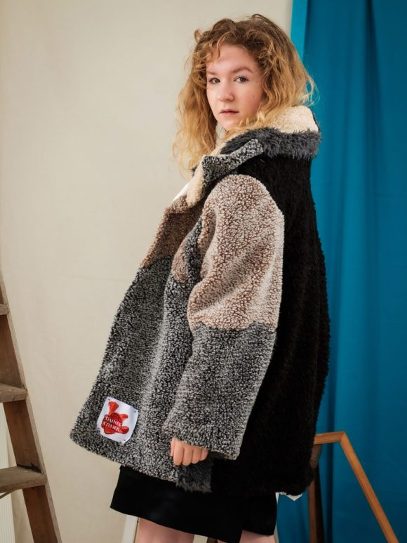 fluffy teddy coat upcycled oversized fashion