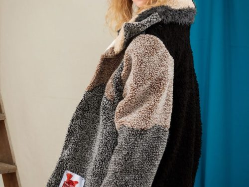 fluffy teddy coat upcycled oversized fashion