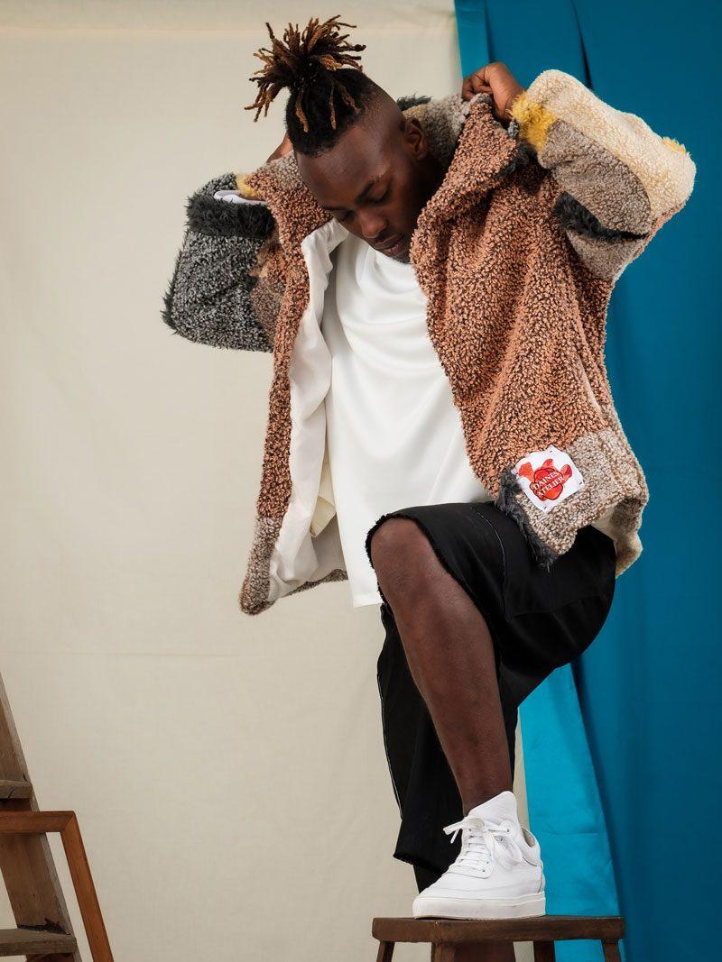 Streetwear upcycled circular fashion zero waste uk oversized unisex coat