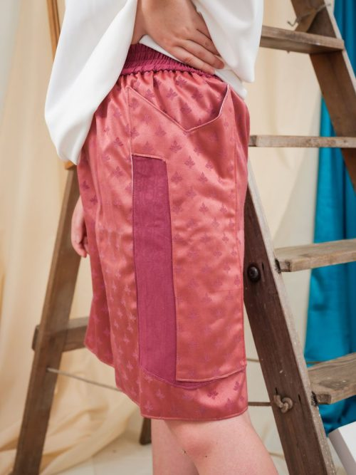 Pink Jacquard Boxing Shorts Oversized comfortable