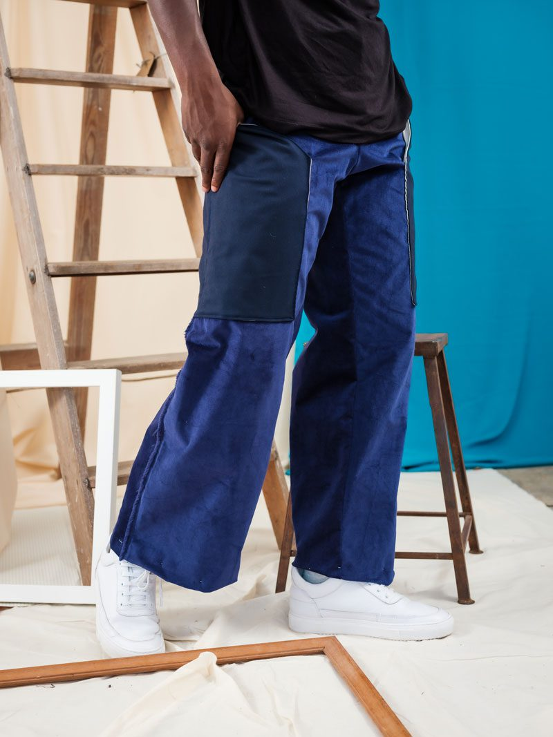 Mid Rise Corduroy Straight Leg Trousers using deadstock materials and upcycled pockets.