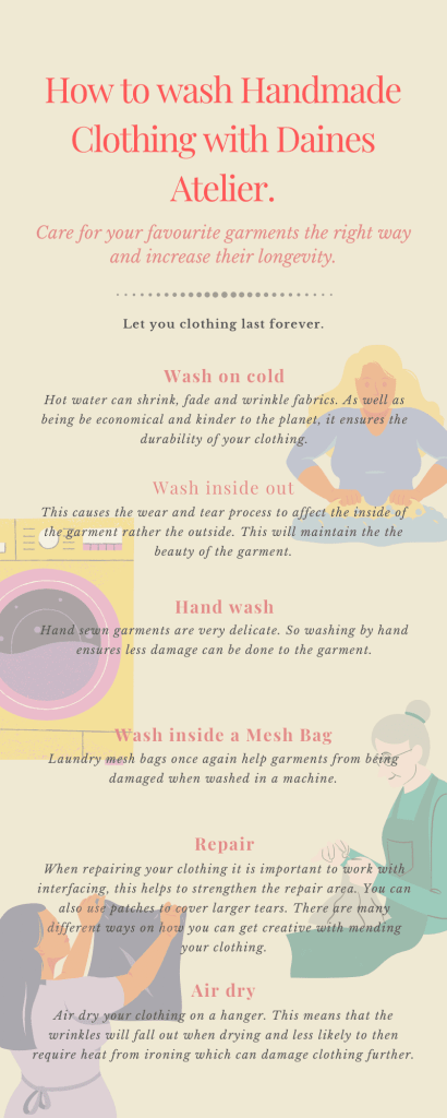 How to wash your handmade clothing infographic. Hints and tips on increasing the longevity of clothing