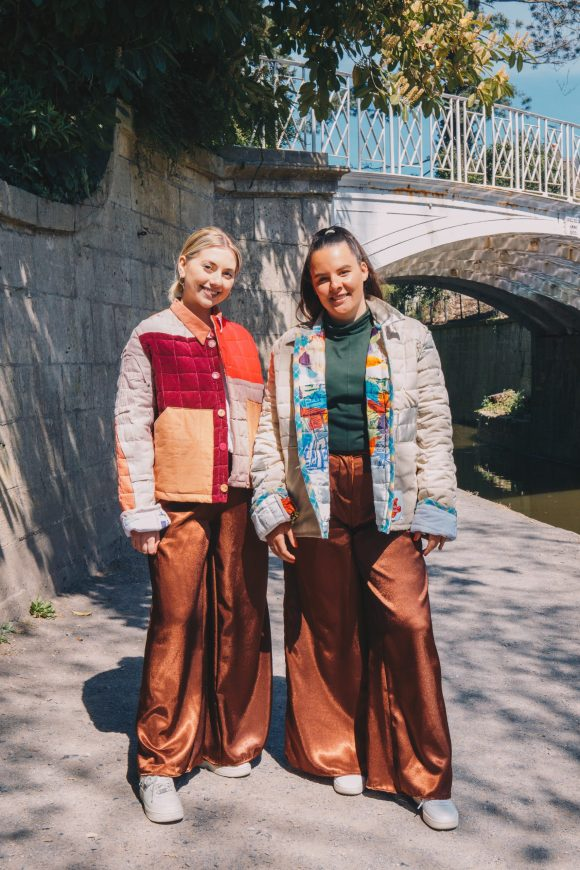 Rosie and Ella wear the Brown Mimosa Trousers. High waisted and made the to fit with pockets. Made with dead stock materials from Amorthreads. Photography by Maisie Lee Walker in Bath