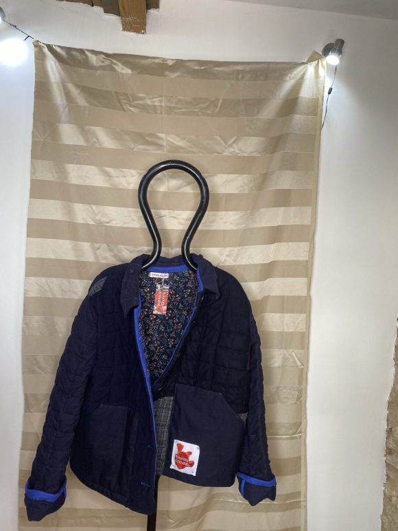 Lining of the quilted blue jacket from from vintage remnant materials.