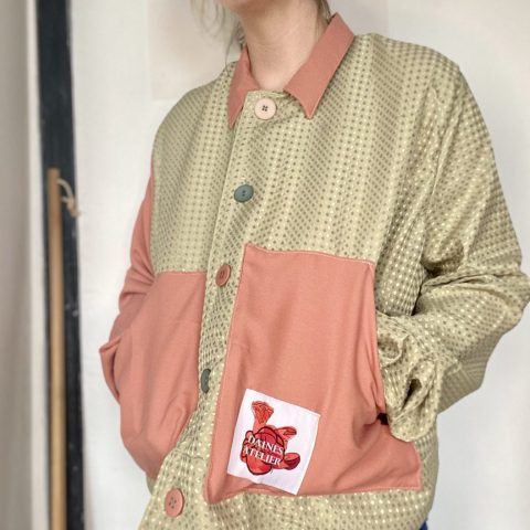 Pink and Green Shirt Jacket made from Upcycled materials an remnants boxy fit jacket.