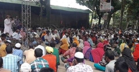 সিরাজগঞ্জের জাতীয় জুট মিল বন্ধের ঘোষণার প্রতিবাদে শ্রমিকদের সমাবেশ ও বিক্ষোভ